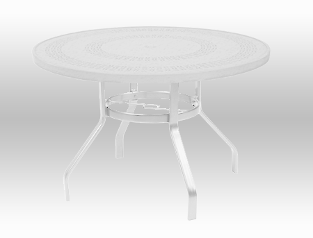 """42"""" Round Punched Metal Top Dining Table with Umbrella Hole"""