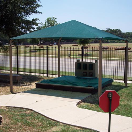 Shade structures and steel shelters.