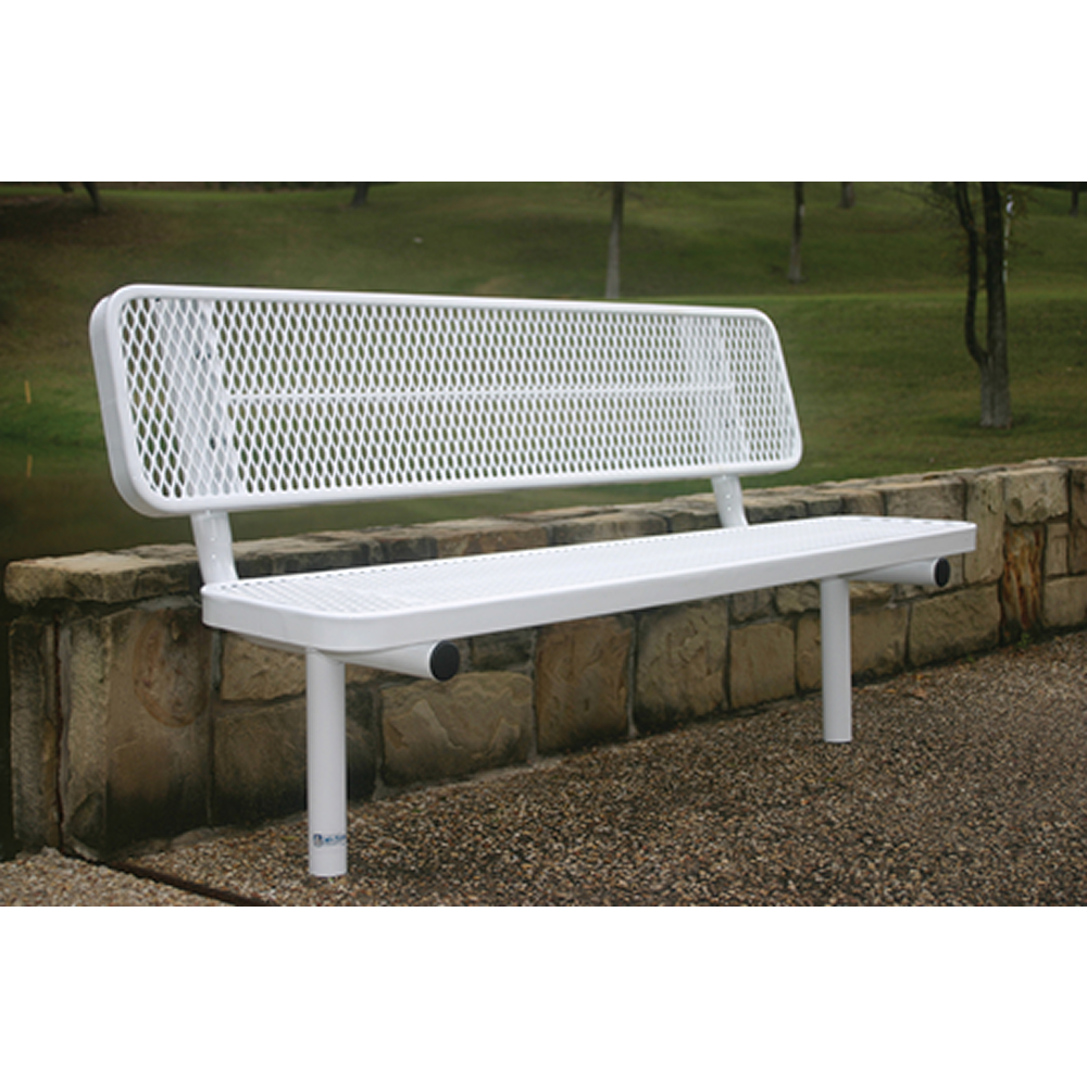 "4' Rivendale Player's Bench With Back, 15"" Wide Seats, Expanded Metal, Inground, Standard Coating"