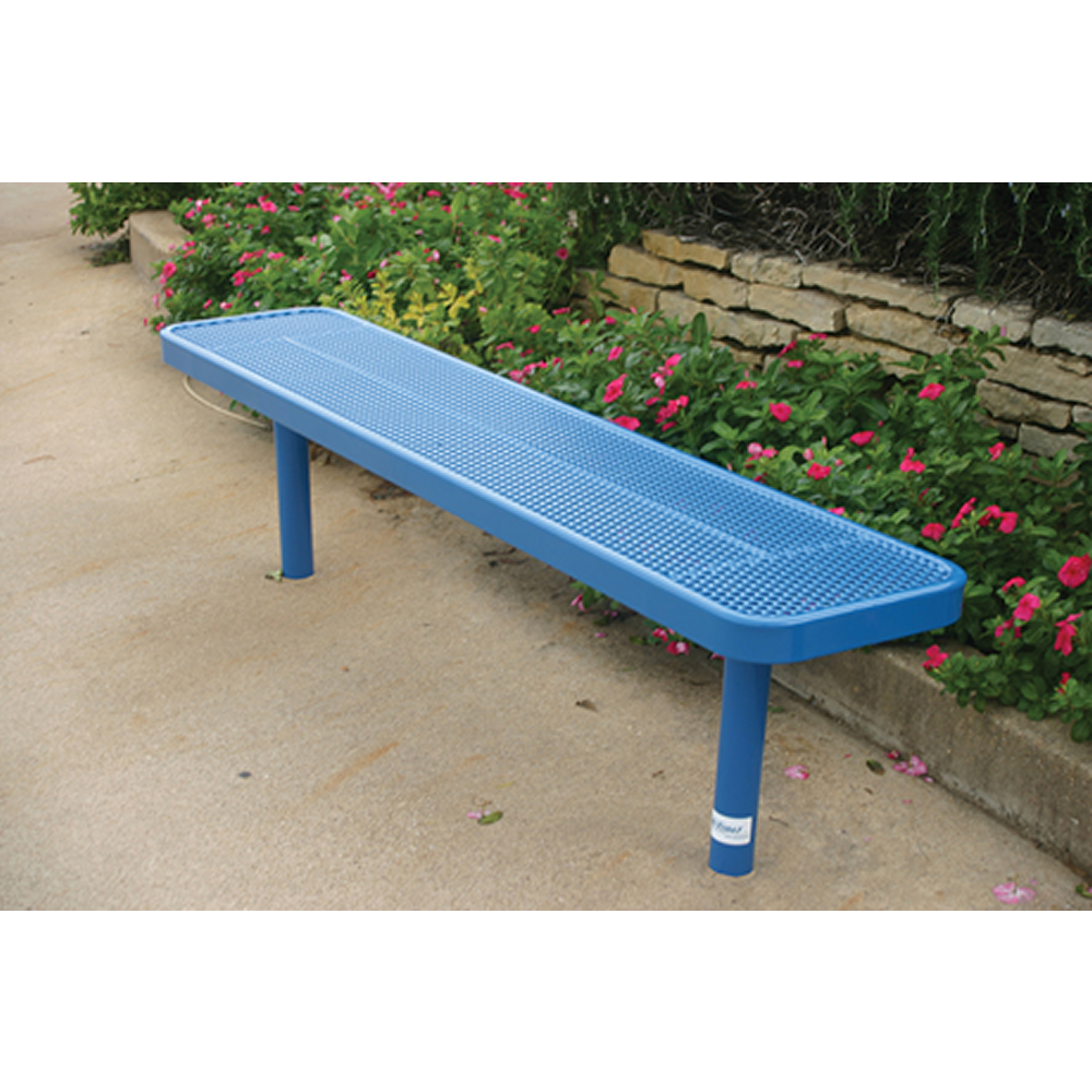 "4' Lexington Player's Bench Without Back, 15"" Wide Seats, Expanded Metal, Inground, Advanced New Coating"