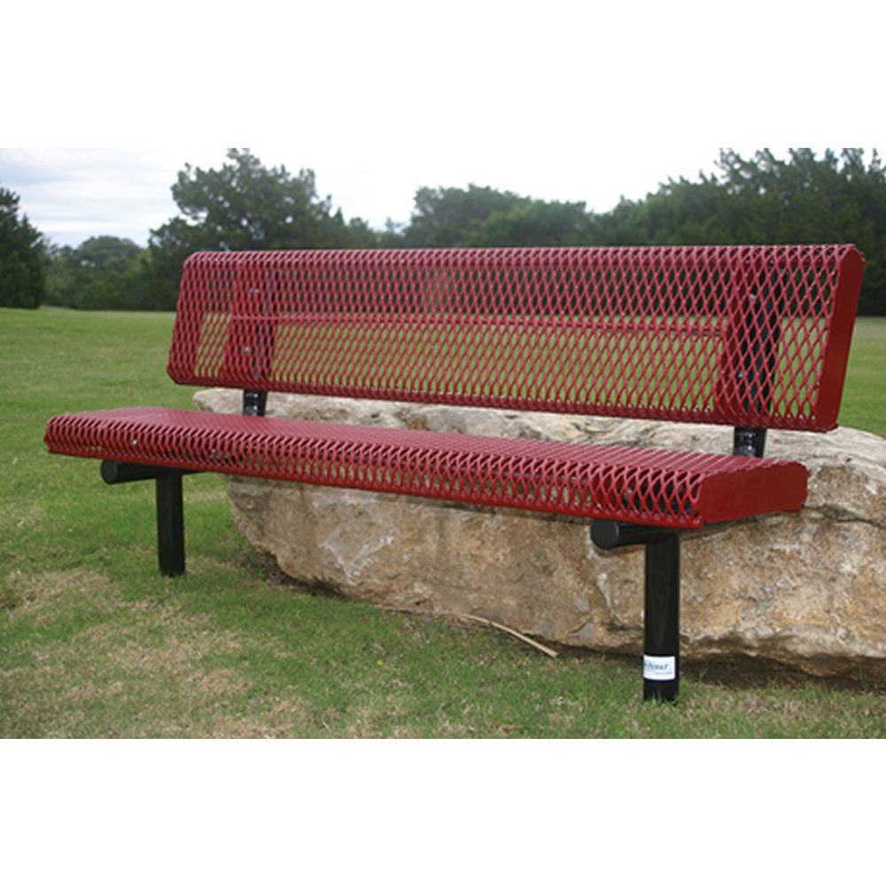 4' Lexington Bench With Back, Rolled Edges, Expanded Metal, Inground, Advanced New Coating