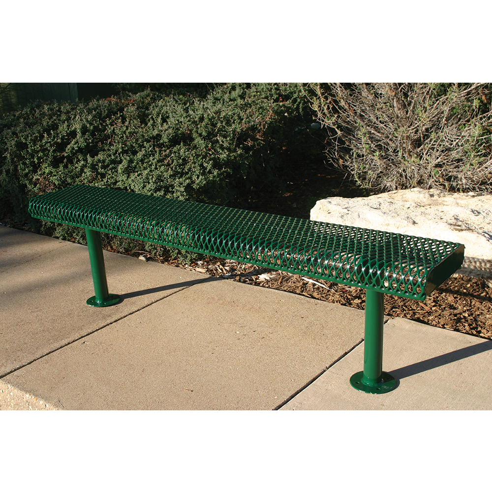 4' Lexington Bench Without Back, Rolled Edges, Expanded Metal, Inground, Advanced New Coating
