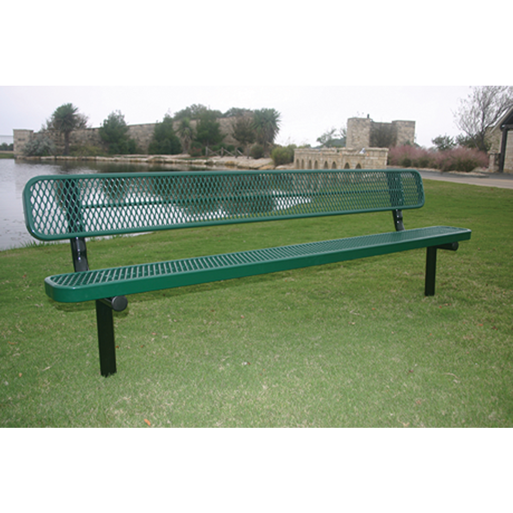 4' Lexington Bench With Back, Expanded Metal, Inground, Advanced New Coating