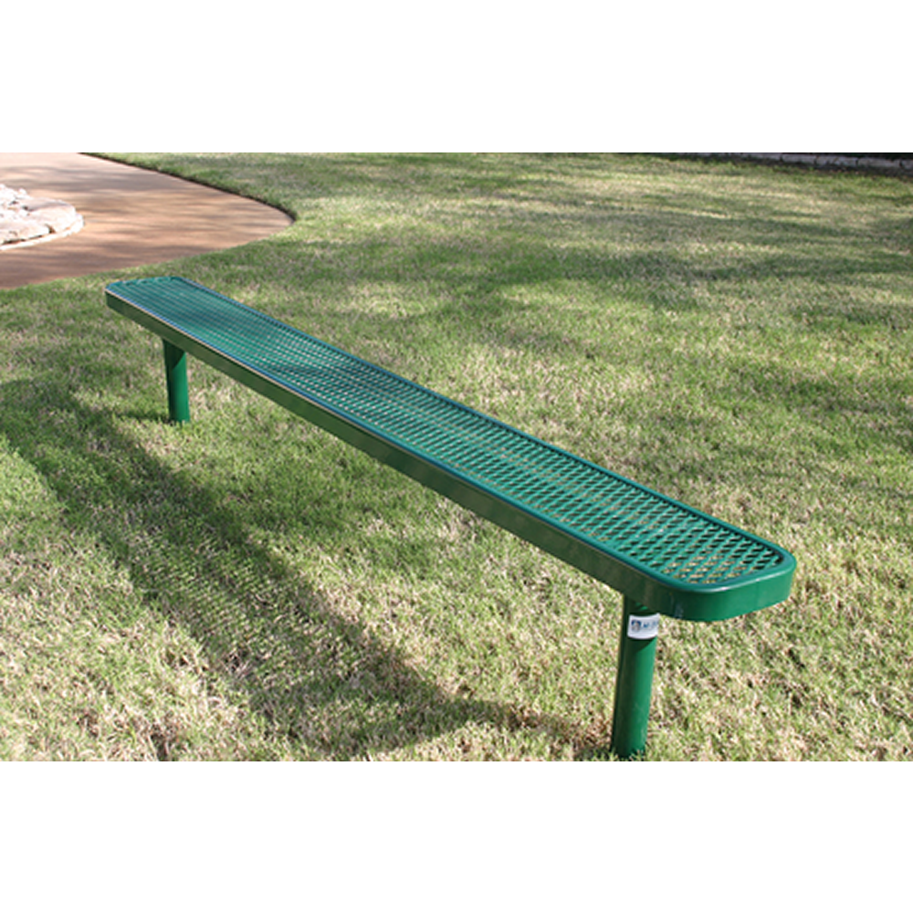 4' Lexington Bench Without Back, Expanded Metal, Inground, Advanced New Coating
