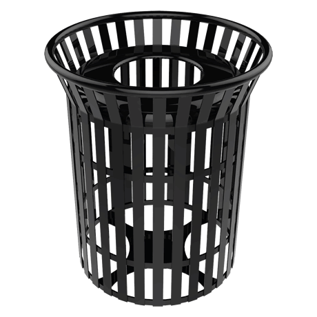 Lexington Skyline Trash Receptacle with Flared Top, Plastic Lid and Liner