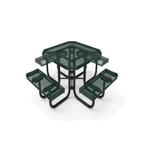 "46"" Rivendale Octagon Portable Table With Rolled Edges, Expanded Metal, Standard Thermoplastic Coating"