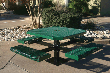 "46"" Rivendale Octagon Pedestal Table With Rolled Seats, Expanded Metal, Inground Mount, Standard Thermoplastic Coating"