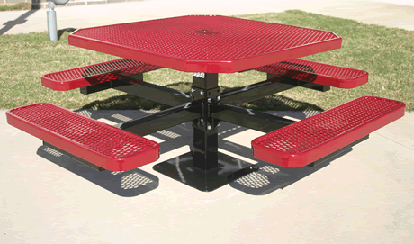 "46"" Rivendale Octagon Pedestal Table, Expanded Metal, Inground Mount, Standard Thermoplastic Coating"
