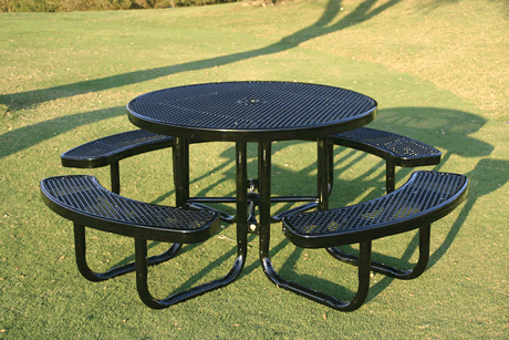 "46"" Rivendale Round Portable Table, Expanded Metal, Standard Thermoplastic Coating"