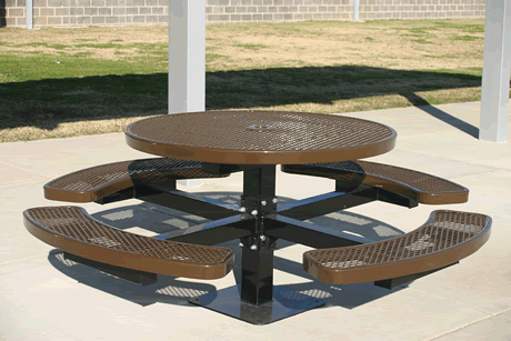 "46"" Rivendale Round Pedestal Table, Expanded Metal, Inground Mount, Standard Thermoplastic Coating"