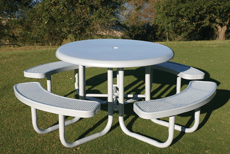 "46"" Rivendale Round Solid Top Portable Table, Punched Steel, Standard Thermoplastic Coating"