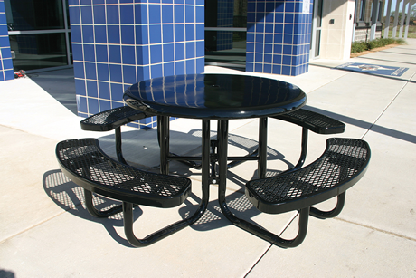 "46"" Rivendale Round Solid Top Portable Table, Expanded Metal, Standard Thermoplastic Coating"