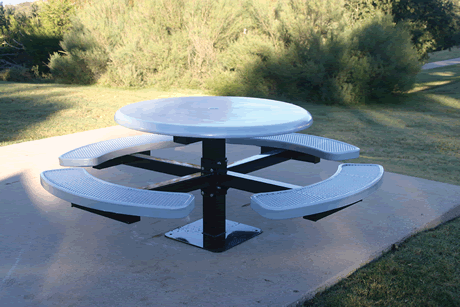 """46"""" Rivendale Round Pedestal Table, Solid Top, Expanded Metal Seats, Inground Mount, Standard Thermoplastic Coating"""