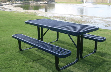 4' Lexington Rectangular Portable Table, Expanded Metal, Advanced DuraLex Coating