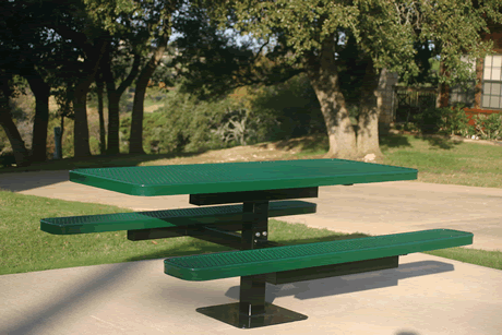 6' Rivendale Pedestal Table, Expanded Metal, Inground Mount, Standard Thermoplastic Coating