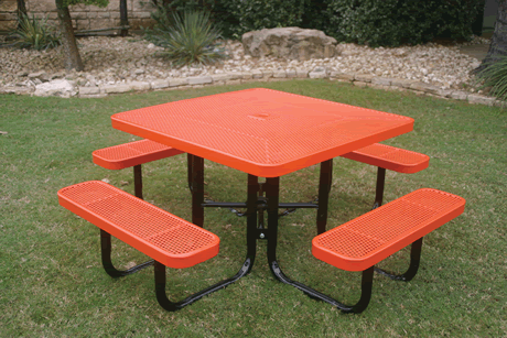 Lexington Square Portable Table, Frame with Powder Coat Finish, Top and Seats with Advanced DuraLex Coating