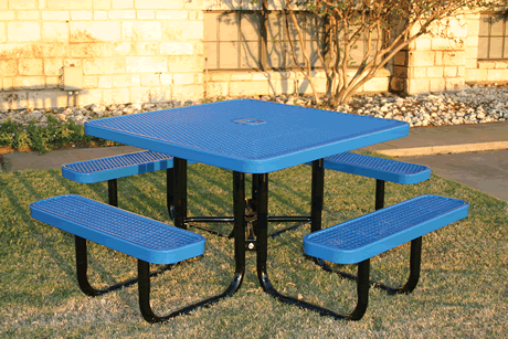 "46"" Rivendale Square Portable Table, Expanded Metal, Standard Thermoplastic Coating"