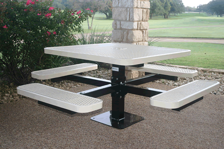 "46"" Rivendale Square Pedestal Table, Punched Steel, Inground Mount, Standard Thermoplastic Coating"