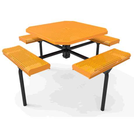 Lexington Octagon Nexus Pedestal Table with Rolled Seats, Frame with Powder Coat Finish, Top and Seats with Advanced DuraLex Coating