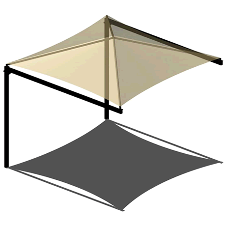 Single Post Cantilever Pyramid 8EH x 8' Shade Structure