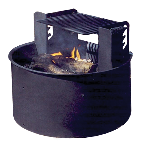 Wheelchair Accessible Fire Ring with Adjustable 4-Position Cooking Grate-Fire Rings