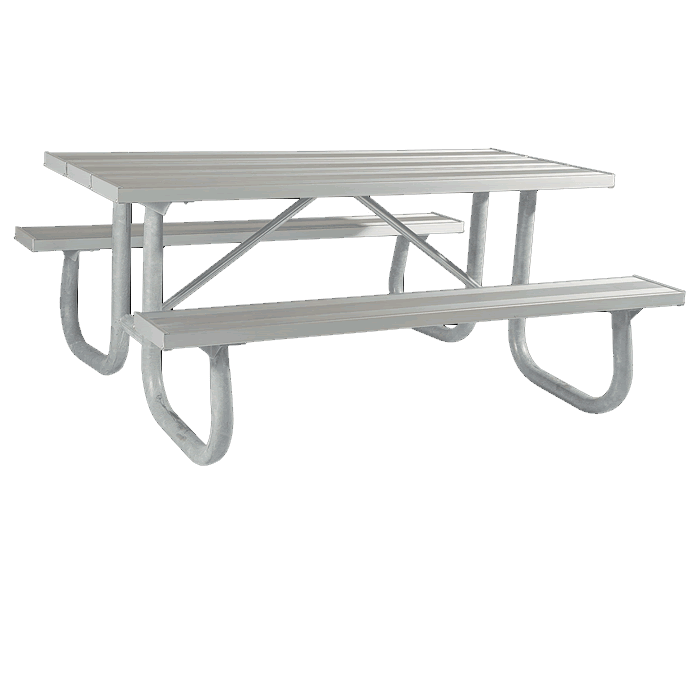 Shenandoah Welded Frame Picnic Table with Aluminum Plank Top and Benches