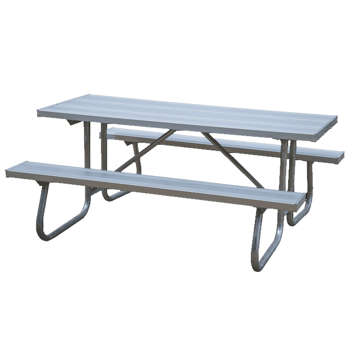 St. James Welded Frame Picnic Table with Aluminum Plank Top and Benches