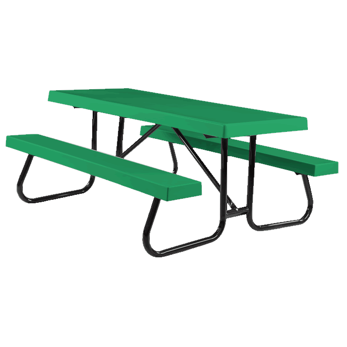 St. James Welded Frame Picnic Table with Fiberglass Plank Top and Benches