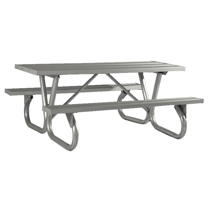Pocono Bolted Frame Picnic Table with Aluminum Plank Top and Benches