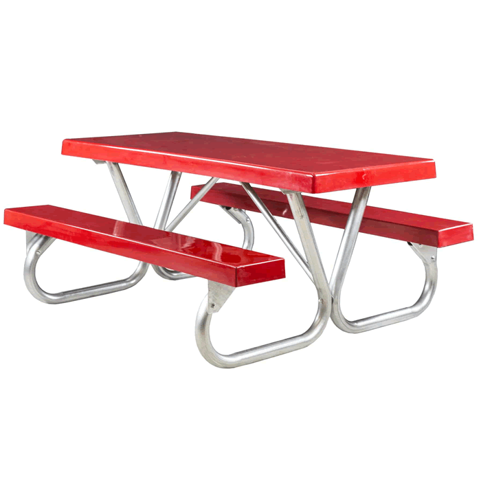 Pocono Bolted Frame Picnic Table with Fiberglass Plank Top and Benches