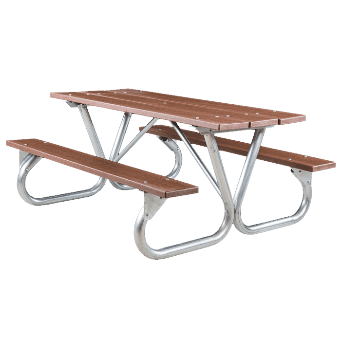 Pocono Bolted Frame Picnic Table with Recycled Plastic Plank Top and Benches