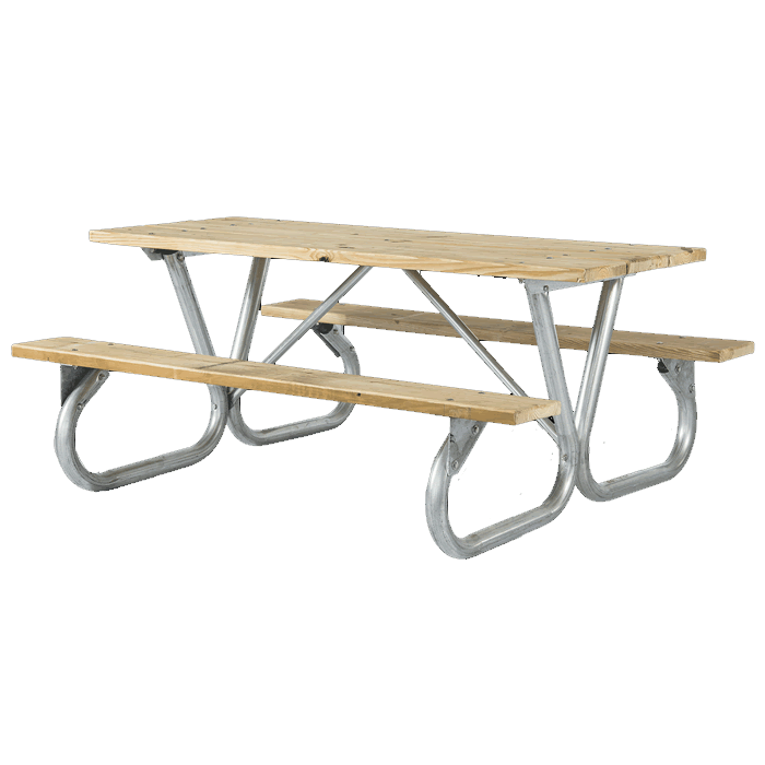 Pocono Bolted Frame Picnic Table with Treated Southern Yellow Pine Wood Plank Top and Benches