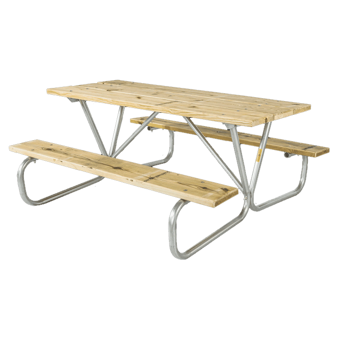 Cascade Bolted Frame Picnic Table with Treated Southern Yellow Pine Wood Plank Top and Benches