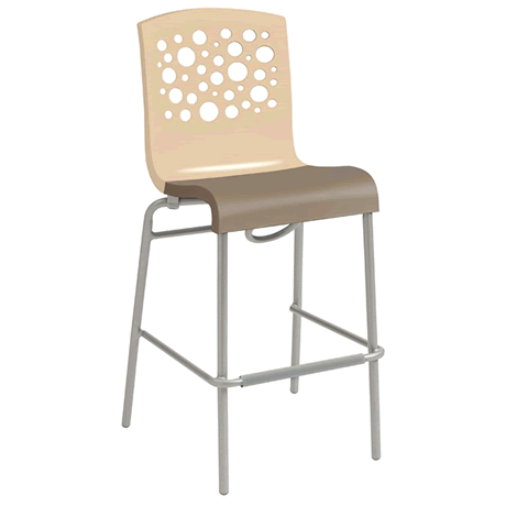 Tempo Stacking Barstool - Beige Back with Taupe Seat