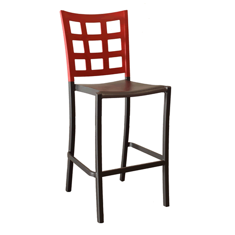 Plazza Stacking Barstool - Apple Red Back with Charcoal Seat