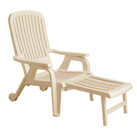 Bahia Stacking Deck Chair, Footrest Extended - Sand