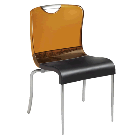 Krystal Stacking Chair - Amber Back with Charcoal Seat