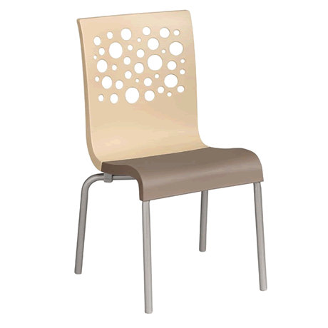Tempo Stacking Chair - Beige Back with Taupe Seat