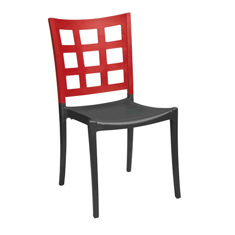 Plazza Stacking Chair - Apple Red Back with Charcoal Seat