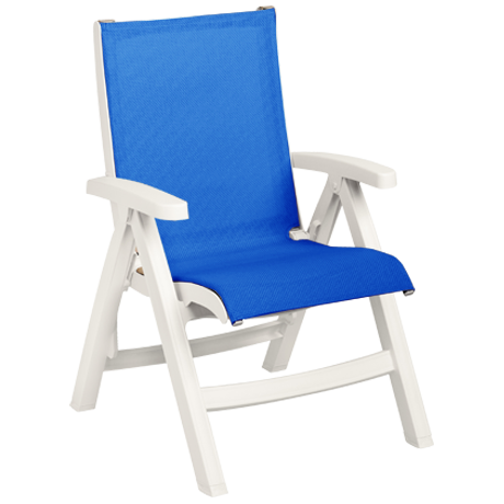 Belize Midback Folding Sling Chair - White Frame with Blue Sling