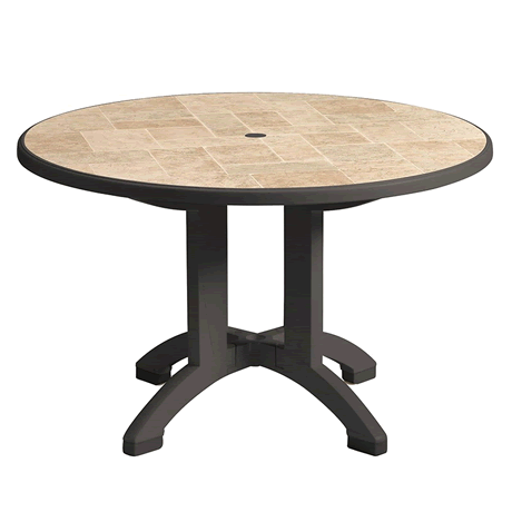 """Aquaba 48"""" Round Pedestal Table - Toscana Decor Top with Charcoal Legs"""