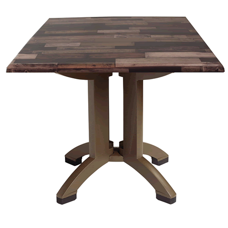 """Atlanta Molded Melamine Table with Bronze Legs and 32"""" Square Shiplap Décor Top"""