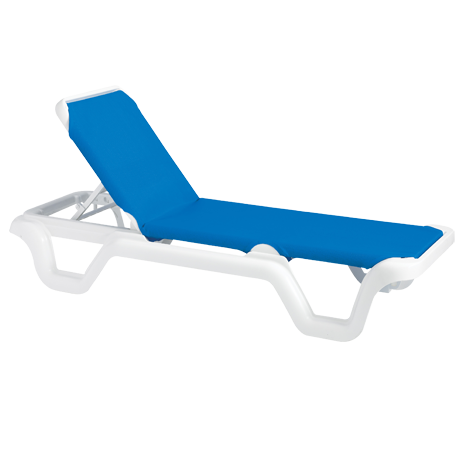 Grosfillex Marina Adjustable Sling Chaise Lounge Without Arms