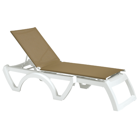 Calypso Adjustable Sling Chaise Lounge without Arms - White Frame with Beige Sling