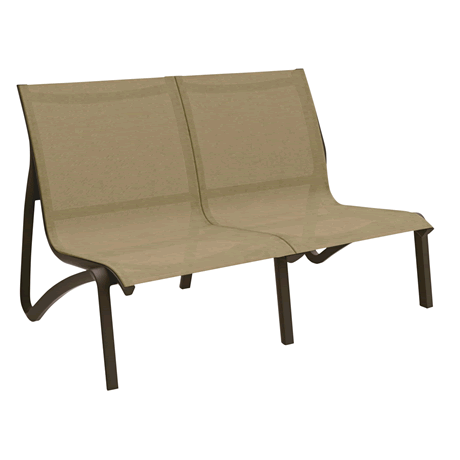 Sunset Armless Love Seat - Fusion Bronze Frame with Cognac Sling