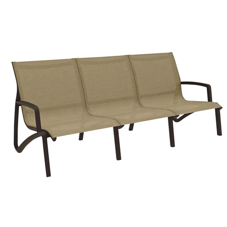 Sunset Armless Sofa - Fusion Bronze Frame with Cognac Sling