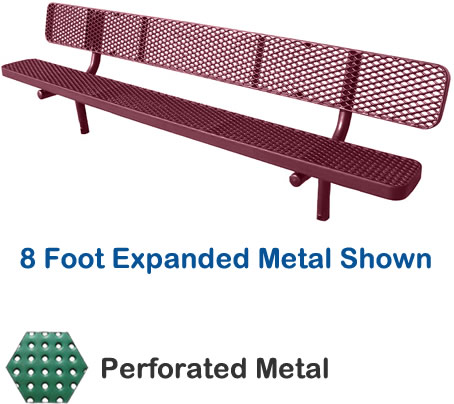 4' Champion Perforated Metal Bench With Back, In-Ground Mount
