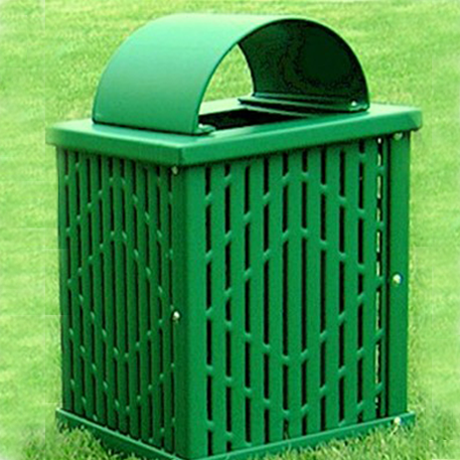 Square 32 gal. Trash Receptacle, Plastisol Coated Laser Cut Steel, Arch Lid, Liner & Lid Included, 110 lbs.
