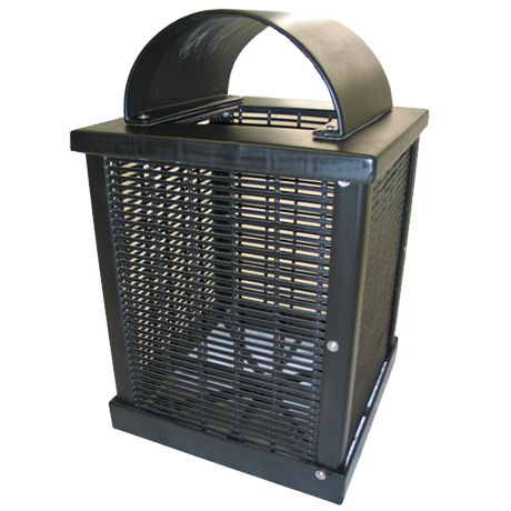 Square 32 gal. Trash Receptacle, Plastisol Coated Welded Rod, Arch Lid, Liner & Lid Included, 110 lbs.