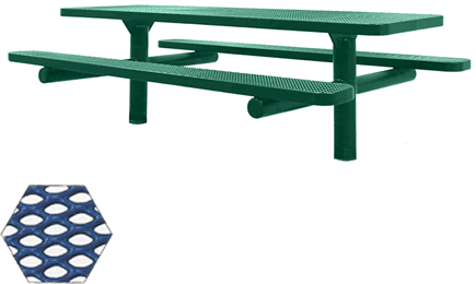 Commercial Picnic Table, Plastisol Coated Expanded Metal - ADA - Champion Series, 8 Ft. Long Rectangle Top, Double Pedestal with 6 Ft. Attached Seats, Handicap Accessible, In Ground Mount
